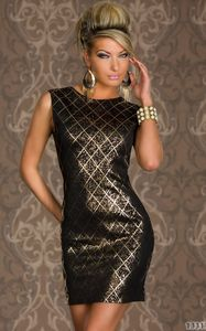 Black Foil Print Mini Dress with Deep V Back