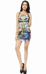 Western religious paintings print pencil dress