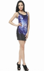 Galaxy Stars Printed Sleeveless Blue and Black Dress
