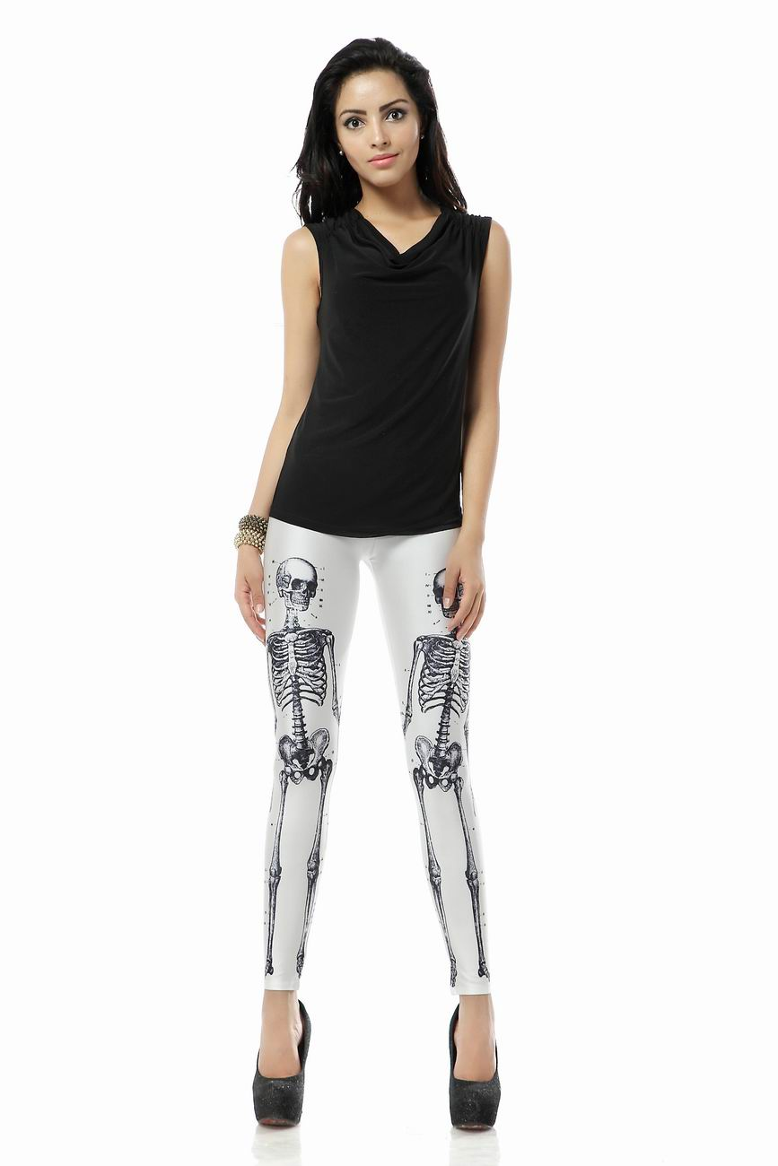 Black Human Skeleton Print Spandex Leggings