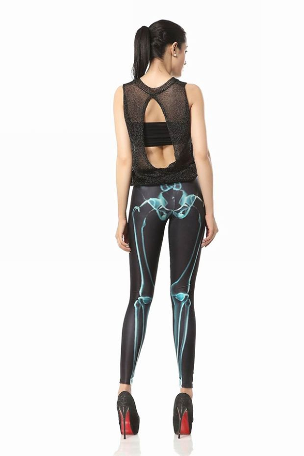 Bone Lines Leggings Abstract Black Green Skeleton Tight
