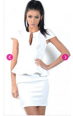White U Neck Peplum Mini Dress