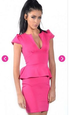 Pria Hot Pink Cap Sleeve Plunge Peplum Dress