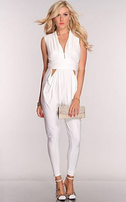White V Neck Sexy Jumpsuit