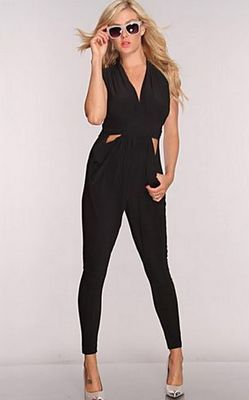 Black V Neck Sexy Jumpsuit