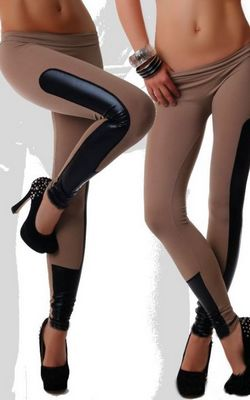 Fashion Rave Party Disco Wear Wet Look Inset Coffee Leggings
