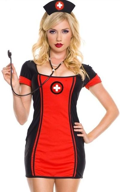 Black and Red Nurse Costume