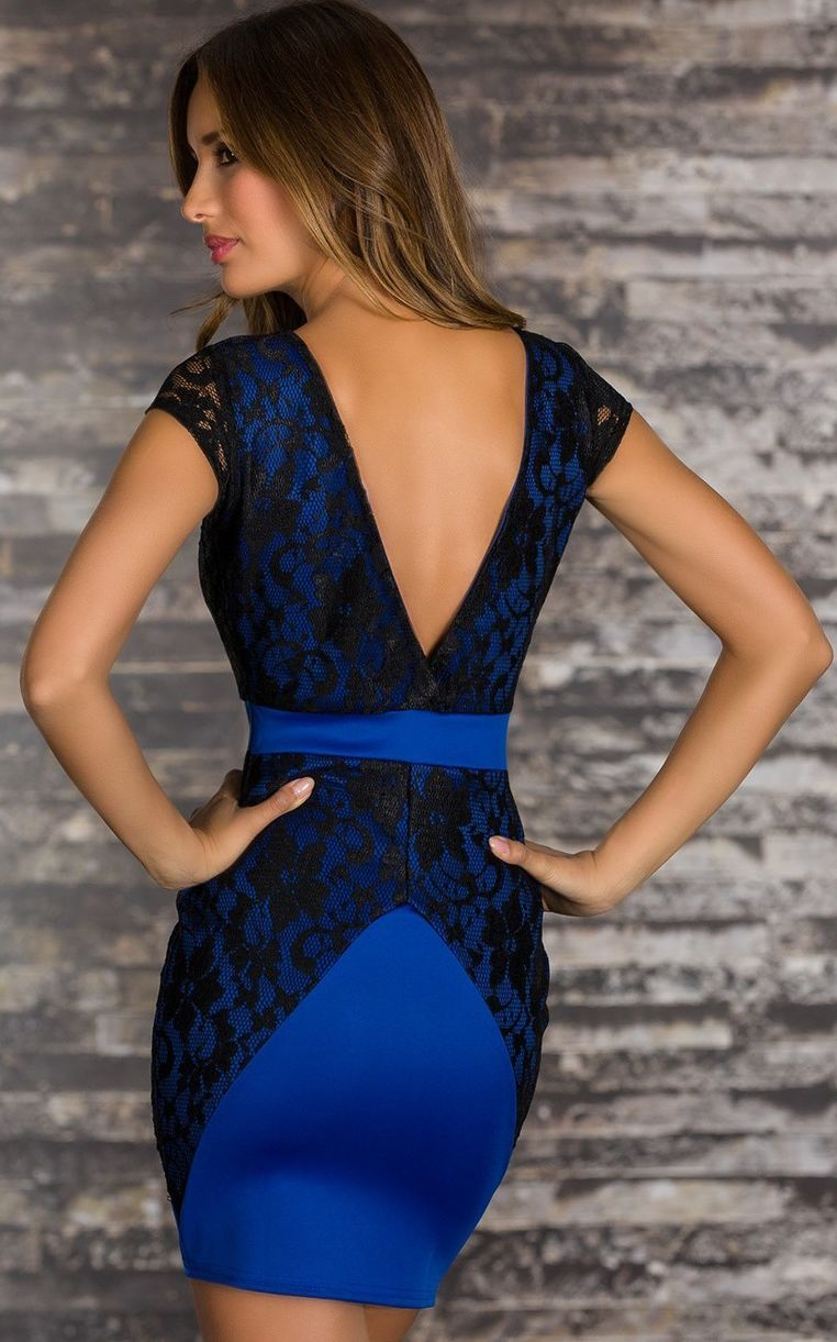 BLACK Blue V BACK LACE OVERLAY PARTY DRESS