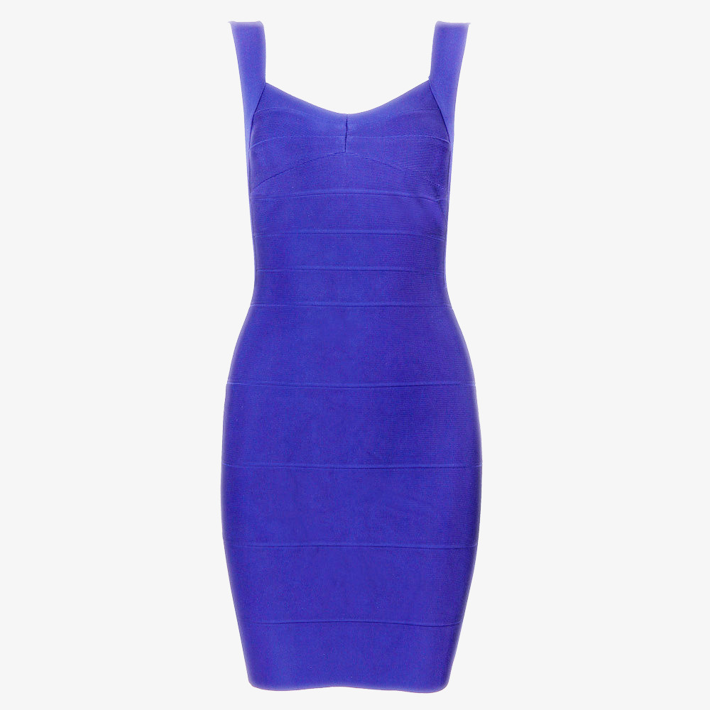 Blue Sleeveless Backless Bandage Dress