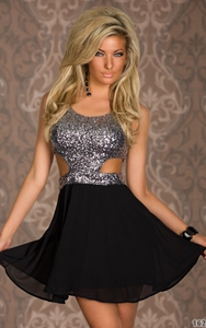 Wonderful Silver Sequin Top Dress skater cut