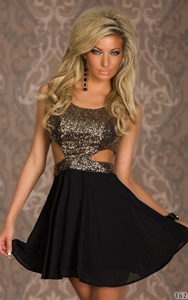 Wonderful Gold Sequin Top Dress skater cut