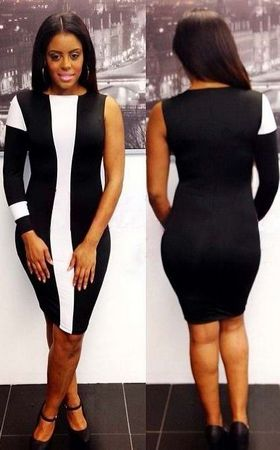 F2241-2   One sleeve Black & White dress