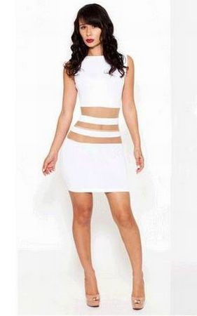 F2243  Womens Lovely White O-Neck Solid Above Knee Sleeveless Bodycon Dress