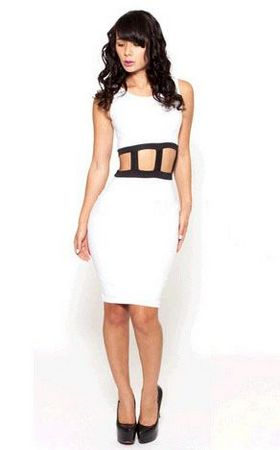 F2245   Womens White Hollow Sexy Dress