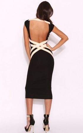 F2248      Black Cross Backless Bandage Dress