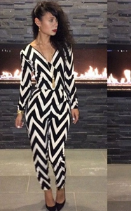 F2252    Zebra Print Bodycon Jumpsuit