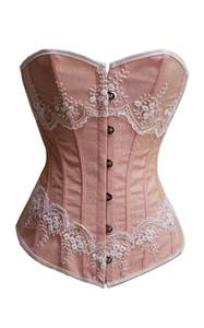 pink & white design Brocade Fabric women corset top bustier underwear