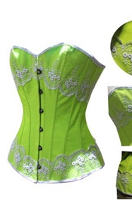 Green & white design Brocade Fabric women corset top bustier underwear