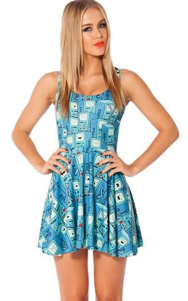F33047   BMO Digital Print Scoop Neck Skater Dress