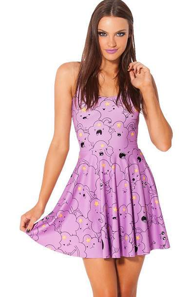 F33048   Sexy Lumpy Space Princess Print Reversible Skater Dress
