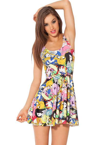F33049  Adventure Time Bro Ball Digital Print Reversible Skater Dress