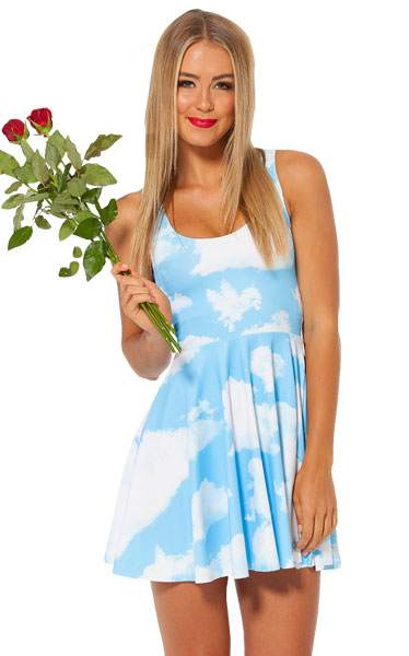 F33051  Clouds Floating Reversible Skater Dress