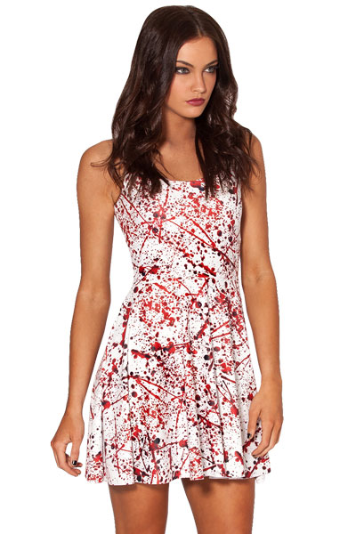 F33052  Halloween Blood Splatter Skater Dress