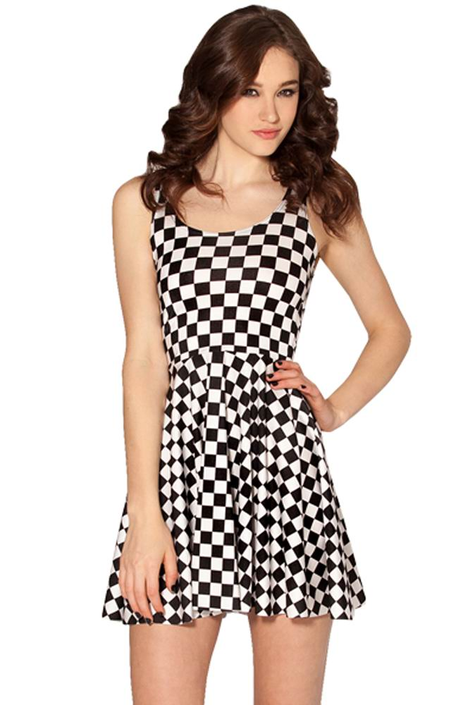 F33053  Stylish Chessboard Skater Dress