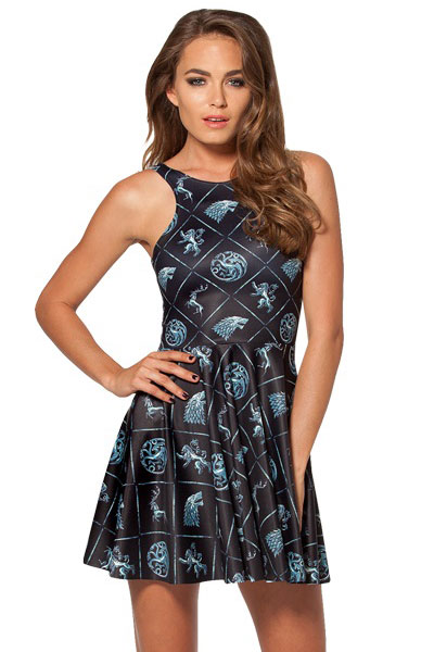 F33056  WIN OR DIE REVERSIBLE SKATER DRESS