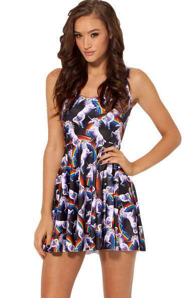 F33058  Hot Sale Attack of the Unicorn Skater Dress