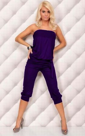 F4052-6    Sexy Strapless Jumpsuit Womens Casual Jumper 3-4 Pants Romper