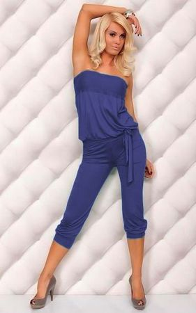 F4052-9    Sexy Strapless Jumpsuit Womens Casual Jumper 3-4 Pants Romper