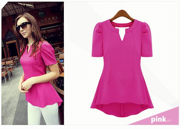 F66633-1  Fashionable Pink Peplum Top