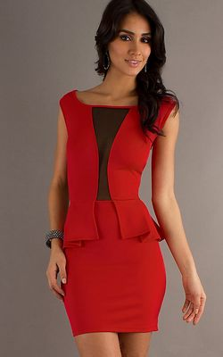 F2265-1 Sexy Red Short Dress with Halter Top