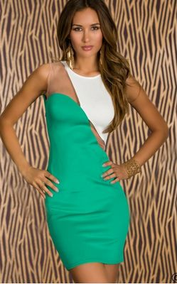 F2268-3 Green-white two colors short dress