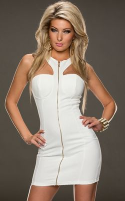 F2269-1 Sexy sleeveless mini dress-White