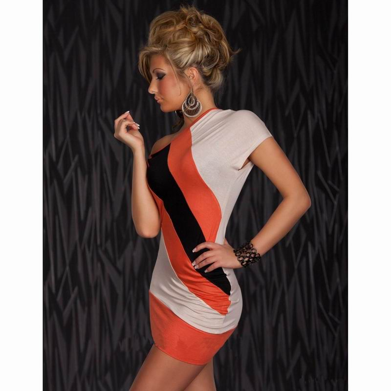 F2274-2 Attractive Look Orange Asymmetrical Mini Dress