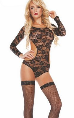 F5359 Long Sleeve Lace Bodysuit with Open Back