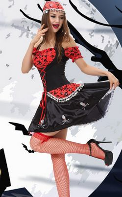 F1441 Black Red Skull Lady Pirate Costume.
