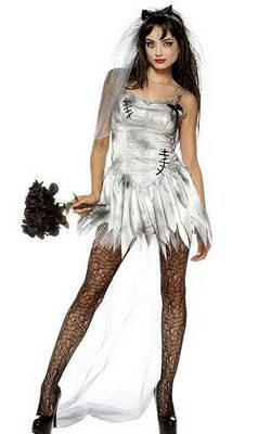 F1443 Sexy Zombie Bride Wedding Corpse Halloween Costume
