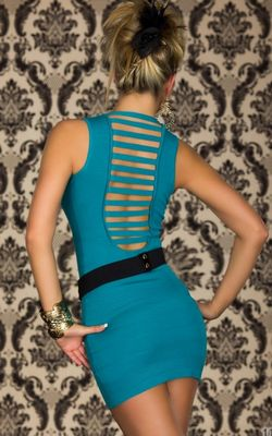 F2285-1 Turquoise dress with slits on the back