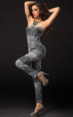 F2276-2   Gorgeous the Water Ripples With Animal Print Tube Pants Jumpsuit