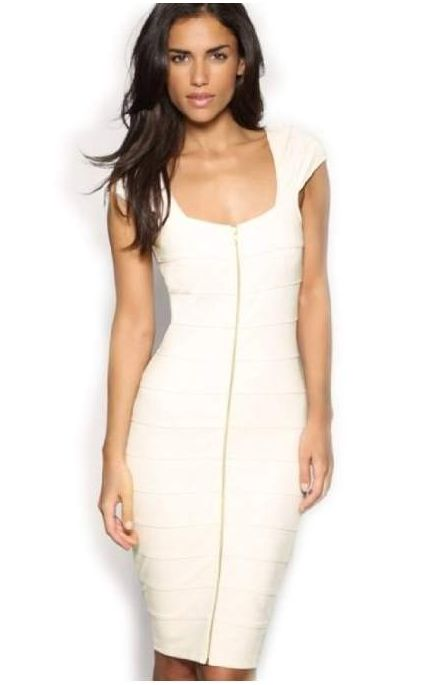 F66616  White Cap Sleeve Front Zip Bodycon Pencil Dress