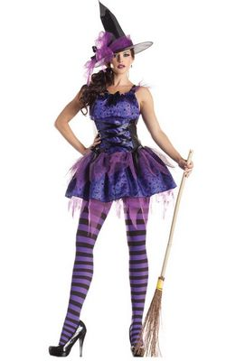 F1484   Purple Classic Starry Night Witch Costume