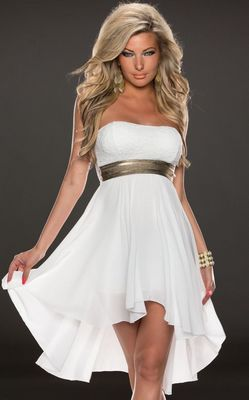 F2289-1  White Fashoin Chiffon Tube Dress