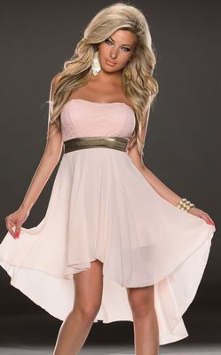 F2289-2  STRAPLESS LACE CHIFFON LONG EVENING DRESS PINK