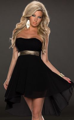 F2289-3  STRAPLESS LACE CHIFFON LONG EVENING DRESS BLACK