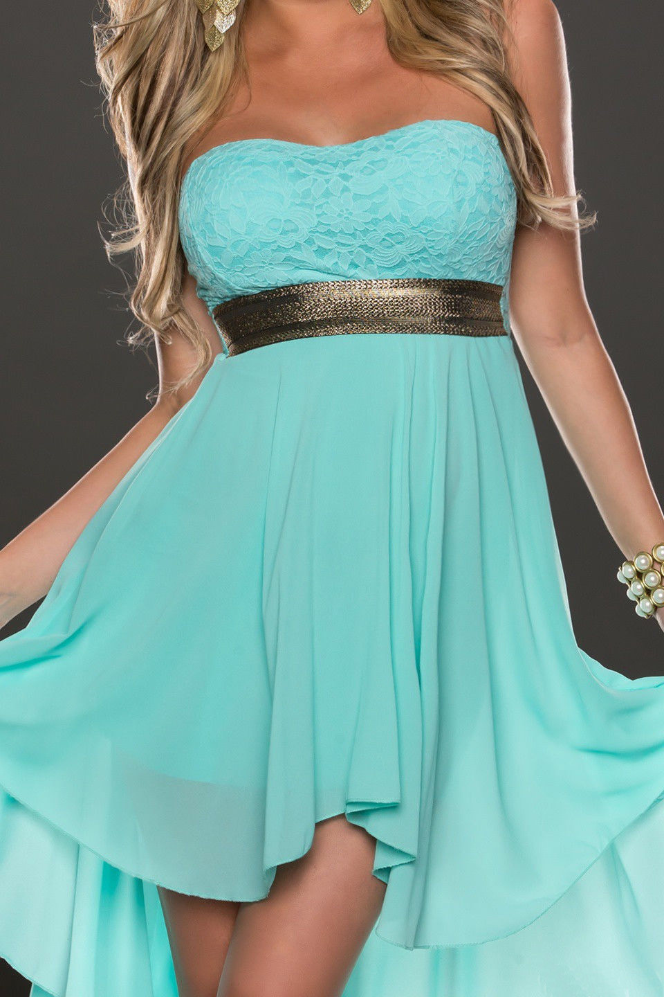 F2289-5  STRAPLESS LACE CHIFFON LONG EVENING DRESS BLUE