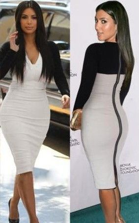 F66606  Sexy White Black Bodycon Dress Cocktail Celebrity Kim Kardashian Style
