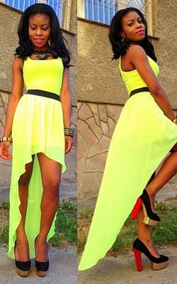 F2307 Yellow sleeveless asymmetry dress with belt